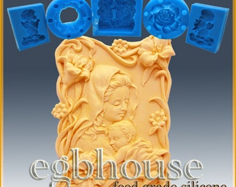 2D Silicone Soap/sugar/fondant/chocolate Mold - mother and child in lily garden -Free shipping