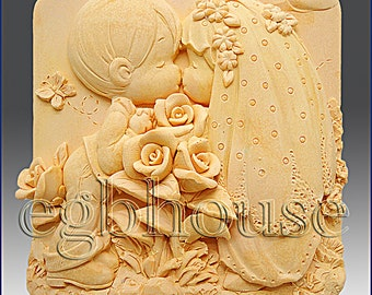 2D Silicone Soap Mold - Kissing Couple  - you are buying from original designer - say no to copycats