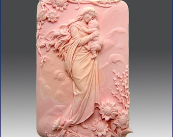 2D Silicone Soap Mold - Mother in Heavenly Garden - free shipping