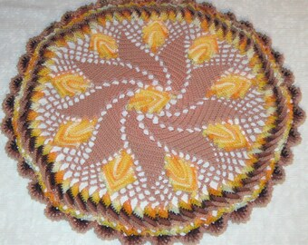 Crochet Doily, Fall Leaves on tan background, multi colored leaves, 13 Inches, round