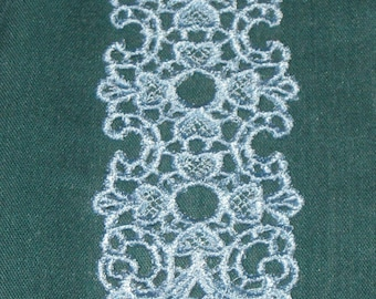 Blue Bookmark, small hearts, Lace, Machine Embroidery