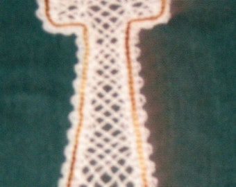 Battenburg Lace cross white with multi-colored gold outline