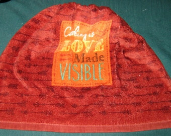 "Crochet Kitchen Hanging Towel, ""Cooking is Love made Visible"", brown top"