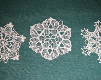 Three Snowflake Ornaments, Machine Embroidered Lace