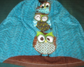 Crochet Kitchen Hanging Towel, 3 Owls, Brown Crochet top
