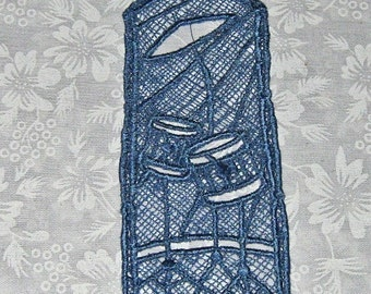Machine embroidered Lace Bookmark, drums, for the music Lover