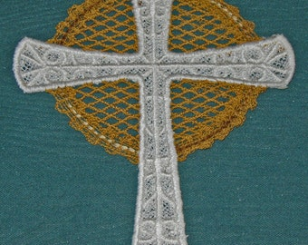 Battenburg Lace Cross, white with gold accent, machine embroidery