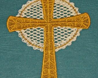 Battenburg Lace Cross, gold with ecru accent, machine embroidery