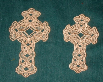 Two Lace Crosses, machine embroidered, Beige thread, Bookmarks