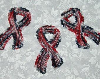 3 Patriotic Applique Ribbons, Pin on, scrapbooking, decoration