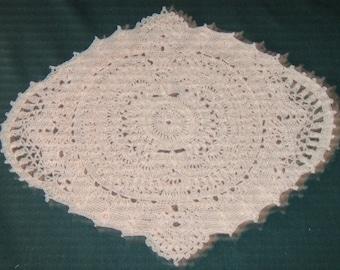 "Crochet Cotton Doily, 14"" long by 12"" wide, Ecru in color"