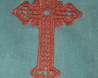 Lace Cross, machine embroidered, brown  thread, Bookmarks