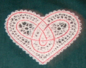 Battenburg Lace white Heart, with red contrast