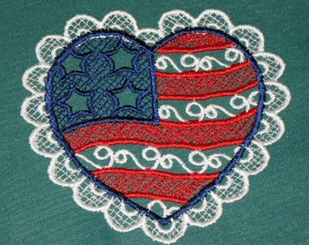 Two Patriotic Lace Hearts, red, white and blue 3 inches
