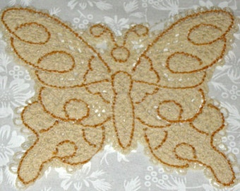 Battenburg Lace Butterfly, ecru with gold accent, machine embroidery