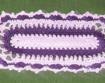 "Crochet Cotton Doily, lavender and ecru oblong, 6 1/2"" x 3"""