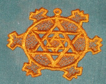 Ornament Star of David, Gold in color