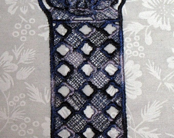 Lace Bookmark, Bluebells, blue and grey
