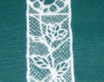 White Rose Machine embroidered lace bookmark