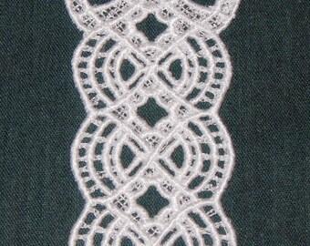 Beautiful white Ribbon Window Bookmark, Lace, Machine Embroidery