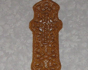 Lace Celtic Cross Bookmark, Machine Embroidery, Gold