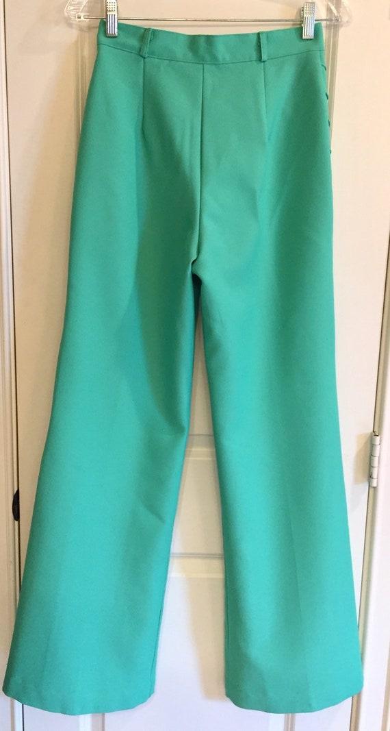 Vintage 1970s Seafoam Green Double Knit Pants - image 3