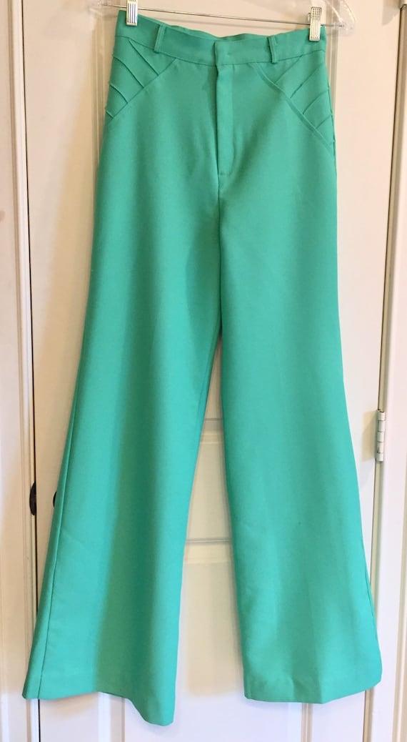 Vintage 1970s Seafoam Green Double Knit Pants - image 1