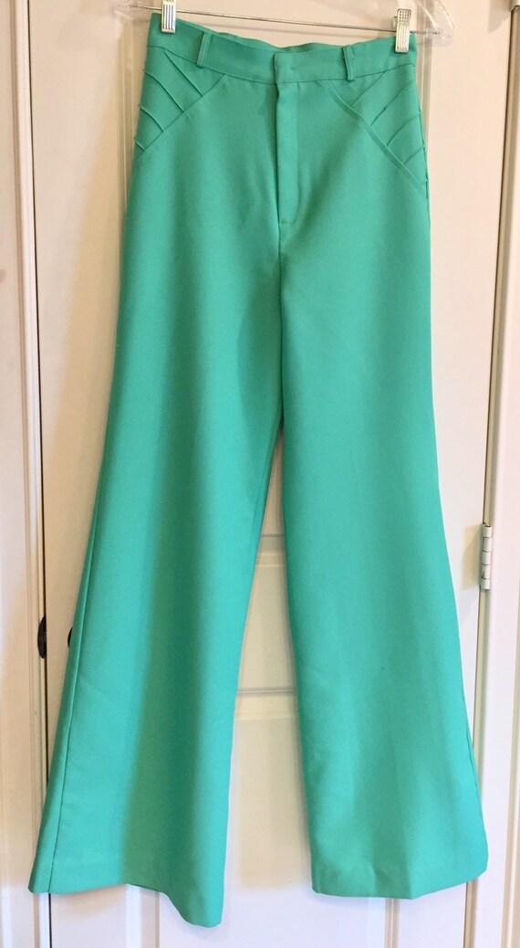 Vintage 1970s Seafoam Green Double Knit Pants
