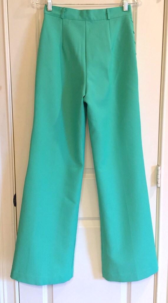 Vintage 1970s Seafoam Green Double Knit Pants - image 4