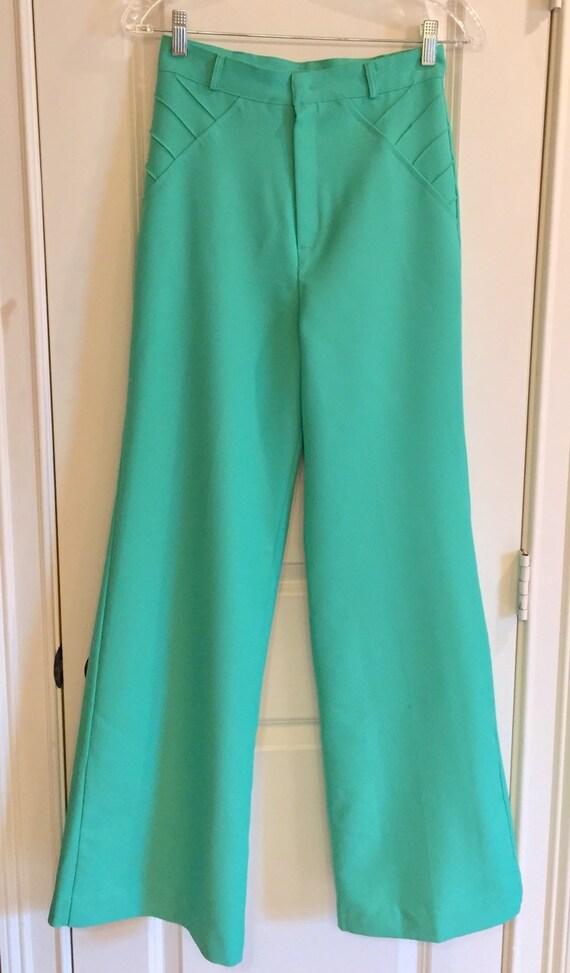 Vintage 1970s Seafoam Green Double Knit Pants - image 2