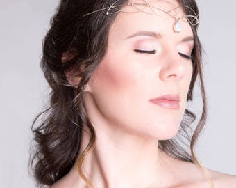 Moonstone Circlet Wedding Headpiece Medieval Crown Renaissance Wedding Headdress Tiara Bridal