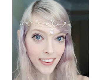 Elven Circlet Moonstone Wedding Headdress Bridal Headpiece Boho Bride Boho Tiara Handfasting Circlet Headdress