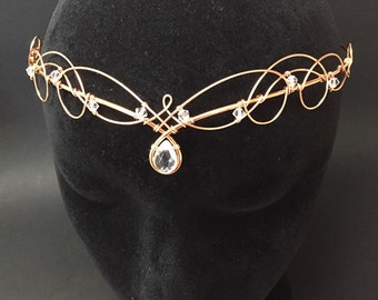 Rose Gold Tiara Circlet with Rock Crystal & Swarovski Crystal Wedding Headpiece Medieval Renaissance