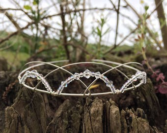 Swarovski Tiara Bridal Headpiece Celtic Wedding Medieval Handfasting