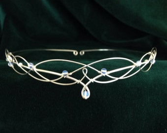 Gemstone Circlet Choose Either Opalite Moonstone Rose Quartz, Lapis Lazuli or Amethyst Elven Headpiece Tiara Medieval Handfasting