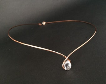 Copper (Rose Gold) Circlet Tiara with Clear Quartz Rock Crystal Medieval Rennaisance Celtic Headband Bridal Headpiece