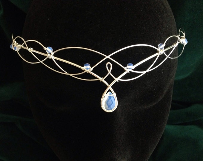 Silver Moonstone Bridal Circlet, Celtic Headpiece, Medieval Headdress, Elven Wedding Tiara