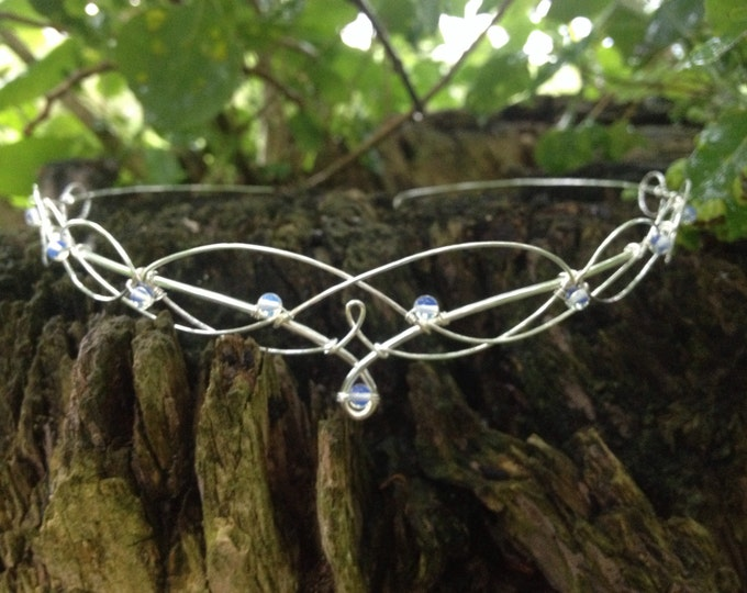 Moonstone Wedding Headdress Circlet  Headpiece Tiara, Medieval Bridal Crown