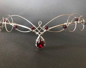 Tiara Circlet Garnet and Red Crystal Medieval Crown Renaissance Headpiece Celtic Bride Diadem