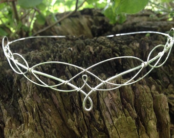 Wedding Circlet Silver Boho Bridal Wedding Headpiece Medieval Bridal Headdress Elven Fairy Crown