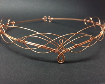 Rose Gold Elven Circlet Medieval Crown Tiara in Renaissance Pagan Wedding Handfasting Bridal Headpiece Boho