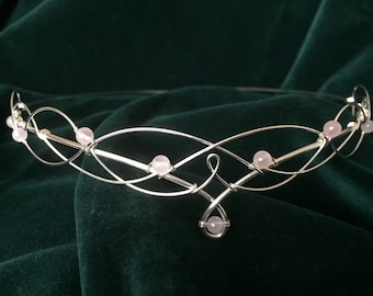 Rose Quartz Circlet Elven Crown Wedding Tiara Handfasting Headpiece Medieval Renaissance