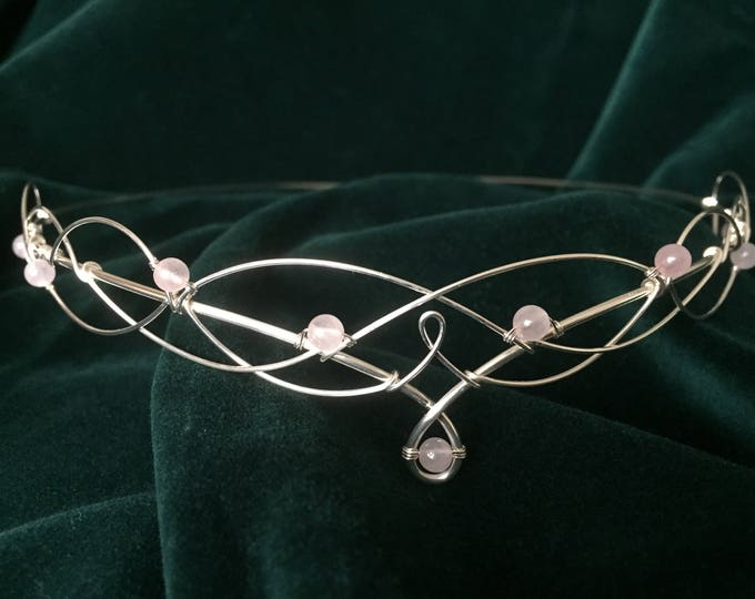 Rose Quartz Circlet Elven Crown Wedding Tiara Handfasting Headpiece Medieval Renaissance