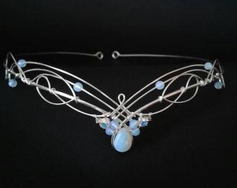 Art Nouveau Renaissance Wedding Headpiece Elven Medieval Bridal Opalite Moonstones & Crystals