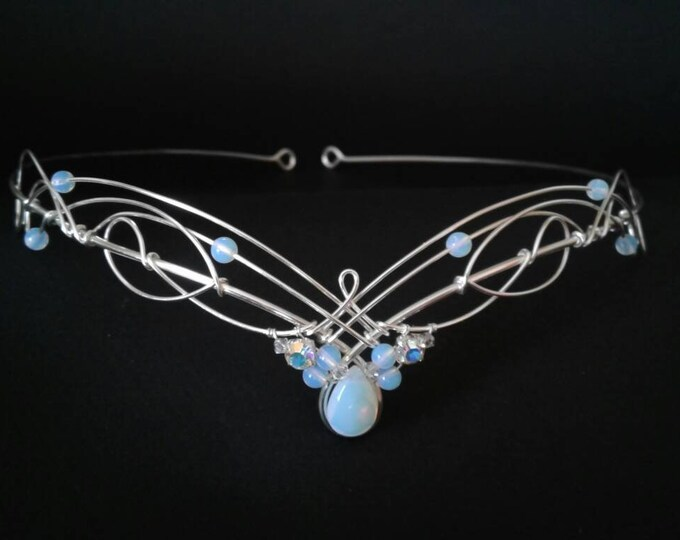 Tiara Circlet Elven with Opalite Moonstone and Crystals Celtic Medieval Bridal Headpiece Wedding