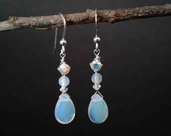 Opalite Peardrop Earrings with Swarovski Crystal & Rhinestone Sterling Silver