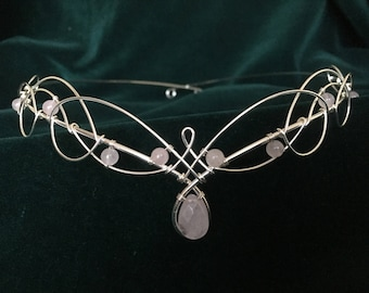 Tiara Circlet in Rose Quartz Headpiece Medieval Wedding