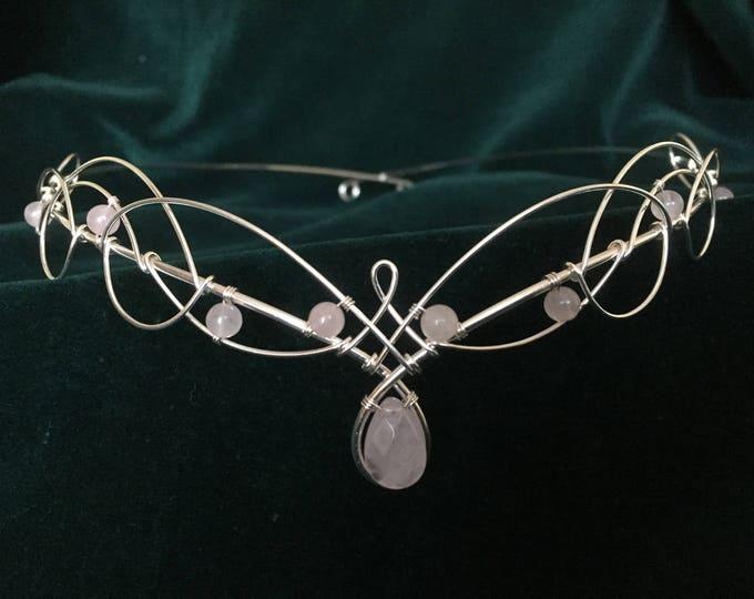Wedding Headpiece in Rose Quartz , Amethyst or Moonstone Bridal Crown Medieval Elven
