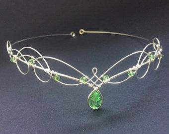 Elven Wedding Tiara Circlet with Green Peridot Crystals Crown Headpiece Medieval Renaissance