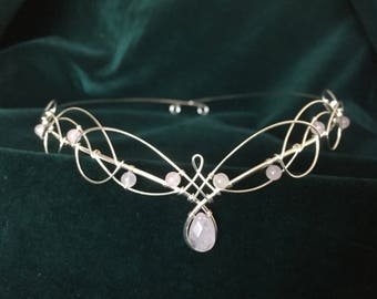 Wedding Circlet Tiara in Rose Quartz, Amethyst, Labradorite or Opalite Moonstone